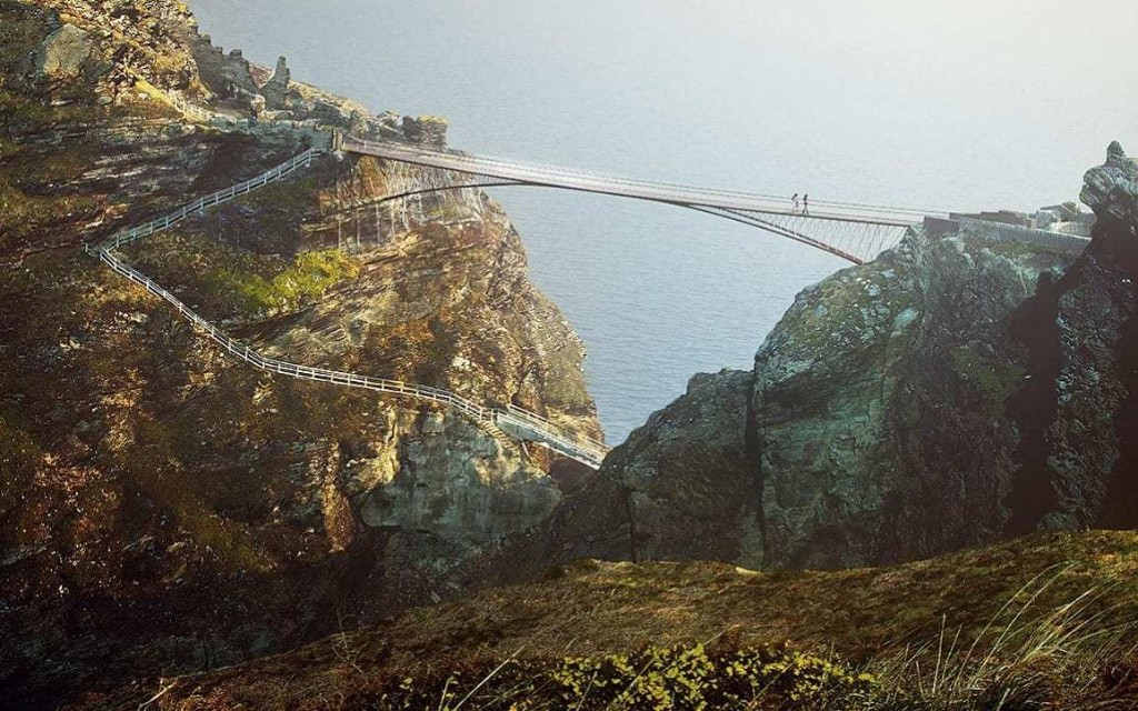 English Heritage defends plan to restore Tintagel Castle crossing after historians claim it never existed